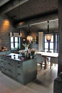 Chalet Design, Industrial Kitchen Design, Concrete Kitchen, Cabin Kitchens, Dining Lighting, Modern Cottage, Timber Frame Homes, Swedish House, Cottage House Plans