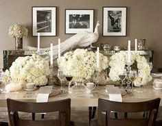 Wedding Rehearsal Dinner Tablescape in Black, White, & Gray by Monique Lhuillier for 'House Beautiful' Magazine