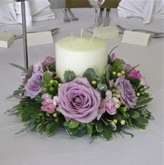 Wreath Flower Arrangements   Low table centre in vintage pinks and mauves using roses, freesias ... Más