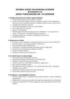 Ocenianie zachowania - Szkoła Podstawowa nr 1 w Ostródzie Book Reports, Term Paper, Research Paper, Homework, Politics, Science, Books, Libros, Book