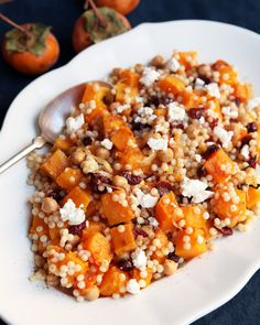 Recipe: Couscous Salad with Butternut Squash and Cranberries — Quick and Easy Vegetarian Dinners (Kitchn Make Ahead Salads, Easy Vegetarian Dinner, Vegetarian Meals, Spaghetti, Cooking Recipes, Healthy Recipes, Healthy Dinners, Healthy Foods, Healthy Eating