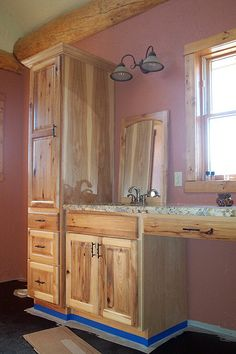 Rustic Hickory Bathroom | 4 West Cabinetry & Wallbeds | Flickr