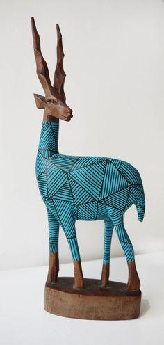 Oh, my goodness, a HIPSTER gazelle! Vintage Retro Original Hand Carved African Hipster Gazelle - Teal