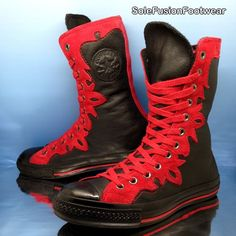 549350b4702b Converse Womens All Star Leather Trainers Black red Sz 7 X Hi Mens BOOTS US  9 40 for sale online