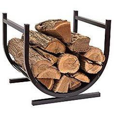 HollyHOME Small Decorative Indoor/Outdoor Firewood Racks Fireside Log Rack, Black