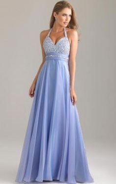 Halter Sleeveless Lavender Chiffon Beading Floor Length Zipper Up A-line Long Prom Dress /Evening Dress