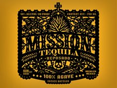 Tequilalabel Papel Picado, Beer Label Design, Tequila, Vodka, Typography Inspiration, Graphic Design Inspiration, Mexican Designs, Best Logo Design, Types Of Lettering