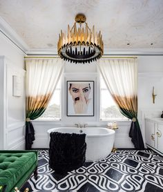 Luxurious White From C2 Paint With Pops Of Gold And Green Brightens Up This Master Bathroom