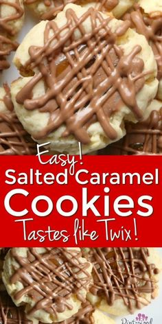 Drizzles of caramel, chocolate and sweetened condensed milk make these salted caramel Twix cookies irresistible! Theyre perfect for parties or just a slow and lazy day at home! New Year's Desserts, Trifle Desserts, Desserts For A Crowd, Winter Desserts, Cute Desserts, Party Desserts, Delicious Desserts, Delicious Cookies, Strawberry Desserts