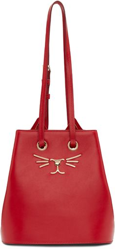CHARLOTTE OLYMPIA Red Feline Bucket Back. #charlotteolympia #bags #shoulder bags…