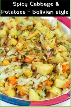 Spicy Cabbage and Potatoes - Bolivian Style - Guisado de Repollo con Papas - Cabbage with Potatoes is a quick and easy side dish. You can add some extra protein and make it a complete meal by adding some chorizo or eggs. Vegetarian Cabbage, Vegetarian Recipes, Cooking Recipes, Healthy Recipes, Vegan Cabbage Recipes, Potato Recipes, Bread Recipes, Cooking Tips, Chorizo