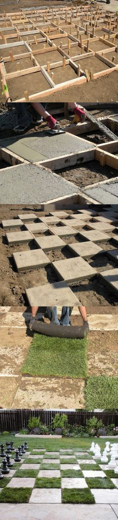 Make a Giant Chess Board In the Backyard - good grass choice. Wonder what else could be used besides grass?