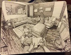Living Room. Urban Sketcher Inserts Himself in the Drawing. To see more art and information about Paul Heaston click the image.