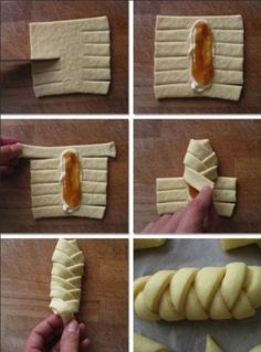 19 Most Adorable Christmas Food Gifts Ideas To Delight Your Family - Sad To Happy Project Baking Recipes, Dessert Recipes, Pastry Design, Bread Shaping, Braided Bread, Christmas Food Gifts, Breakfast Pastries, Breakfast Time, Puff Pastry Recipes