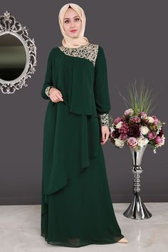 Green color latest women abaya collection 2018 hd pictures (6) Islamic Fashion, Muslim Fashion, Modest Fashion, Fashion Dresses, Modest Dresses, Elegant Dresses, Hijab Evening Dress, Dress Brokat, Mode Abaya