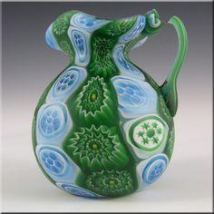 Fratelli Toso Millefiori Murano Blue + Green Glass Jug - £24.99