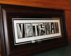 FRAMED VETERAN Print with United States FLAG army navy marine air force