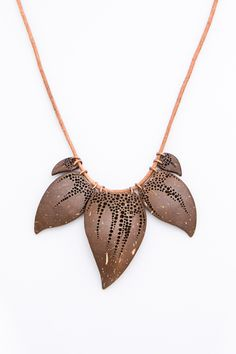 "Women art necklace""Exotic""coconut shell hand carved natural eco brown necklace leaf necklace woodcarving handmade jewelry women gift fo - $76.00 USD"