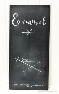 Hand painted wood sign black and white chalk paint. Christmas story in one. Emmanuel, God is with us. From the manger to the cross, Jesus. Christmas Manger, Christmas Jesus, Christian Christmas, Easy Christmas Crafts, Christmas Love, A Christmas Story, Christmas Signs, Christmas Decor, Chalkboard Art Quotes