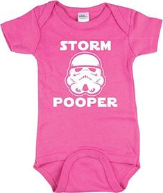 38dbf3c32 Funny Baby Girl Outfit, Storm Pooper Shirt, Star Wars Inspired, Pink 6-12 mo