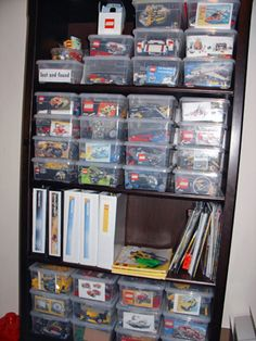 Each lego set is in a Container Store shoe box with a label either cut from the original box or printed out from the internet (if we threw the box away too soon). Lost & found bits are in a box of their own. All instruction books are kept in plastic sheet protectors and sorted (by theme then number) in 3-ring binders!