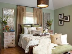 Bedroom with Earthy Green Walls and Pendant Light - on HGTV
