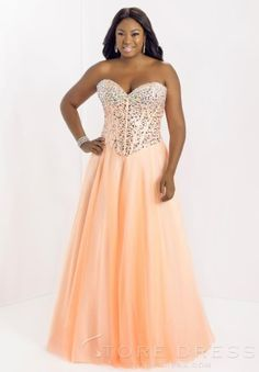 strapless sweetheart beaded empire long plus size prom dress ...