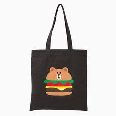 Line Friends Dark Grey Burger Brown Tote Eco Shoulder Cotton Bag Unisex Casual #NaverLineFriends #EcoBagShoulderBag