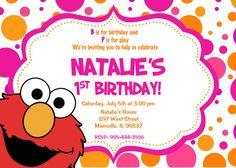 Elmo Sesame Street Birthday Party Invitation  by PrettyPaperPixels