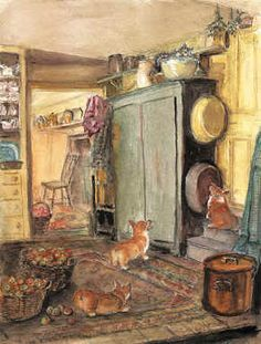 """""""Mixing Bowl"""" by Tasha Tudor. I love how mischevious these little dogs look!"""