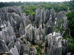 Fantastic Stone Forest......❤  The Stone Forest or Shilin is a notable set of limestone formations about 500 km2 located in Shilin Yi Autonomous County, Yunnan Province, People's Republic of China, near Shilin approximately 90 km (56 mi) from the provincial capital Kunming.