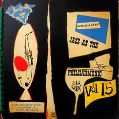 Jazz at the Philharmonic, Vol 15. Label: Clef MGC Vol. 15 (1954) Design David Stone Martin.