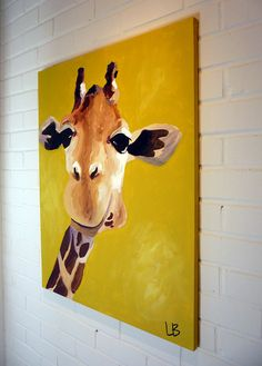 Original Giraffe Painting 24x30 Acrylic on Canvas by LoganBerard on Etsy