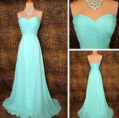 Blue prom dresses,sweetheart A-line chiffon long prom dresses,2016 bridesmaid dresses,tiffany blue prom dresses