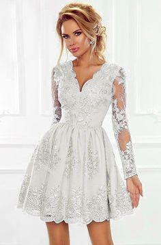 25f9c24e44 Biała koronkowa sukienka z rozkloszowanym dołem - biała wieczorowa Amelia