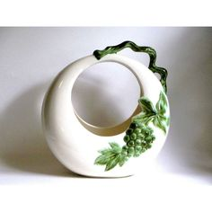 Hull Pottery Tokay Grape Moon Basket Vase in White Green Grapes Leaves... ($30) ❤ liked on Polyvore featuring home, home decor, vases, leaf vase, grapes home decor, pottery planters, leaf home decor and grape vase