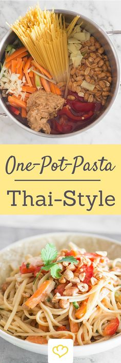 """This Thai style one-pot pasta is reminiscent of the Thai classic """"Pad Thai"""". Carrots, peppers, peanuts and coriander One pot pasta Thai style with vegetables and peanuts Nena Nom. This Thai style one-pot pasta is reminiscent of the Soup Recipes, Vegetarian Recipes, Dinner Recipes, Healthy Recipes, Pizza Recipes, One Pot Dishes, One Pot Meals, Noodles Pad Thai, Thai Style"""
