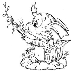 Horus is a baby dragon with a sweet tooth! Dragon Coloring Page, Fairy Coloring Pages, Adult Coloring Book Pages, Printable Adult Coloring Pages, Coloring Pages To Print, Coloring Books, Cartoon Drawings, Animal Drawings, Christmas Coloring Sheets