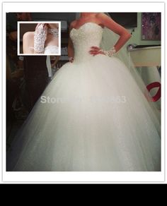 Free Shipping Sweetheart Custom made White Tulle Beading Crystal Diamond Strapless Ball Gown Wedding Dress 2014 Bridal Gown
