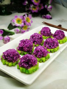 Bitter Melon AND Purple Cabbage Appetizer I love the color! Where to get bitter melon though?
