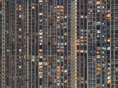 MICHAEL WOLF PHOTOGRAPHY    Hong Kong at night. Population density in HK is ~6800 ppl per square km