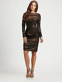 Teri Jon Illusion Neckline Dress