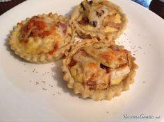Tartaletas rellenas de puerro, bacon y queso
