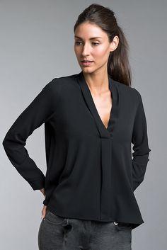 Casual Looks, V Neck, Blouse, Long Sleeve, Sleeves, Tops, Women, Fashion, Black