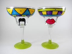 Hand Painted Margarita Glasses  set of two by ImpulsiveCreativity, $40.00