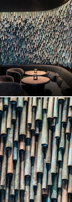 Designer Raphael Navot has used oxidised copper tubes to create a unique and interesting accent wall in a restaurant within a hotel. - Oxidized Copper Pipes Have Been Used To Create A Unique Accent Wall Within A Parisian Restaurant Design Hotel, Restaurant Design, Restaurant Ideas, Luxury Restaurant, Restaurant Exterior, Restaurants In Paris, Wall Texture Design, Exterior Wall Design, Copper Tubing