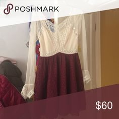 Red/white lace Free People dress Very cute Victorian free people dress. Lace long sleeve with a dark red lace bottom. Originally $160 Free People Dresses Long Sleeve