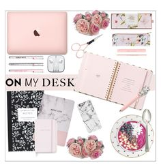 """""""On my desk"""" by smallbeautymonsters ❤ liked on Polyvore featuring interior, interiors, interior design, home, home decor, interior decorating, Diane James, Kate Spade, Anastasia Beverly Hills and Dot & Bo"""