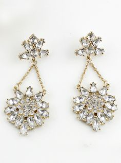 Gold Crystal Flower Earrings US$7.34