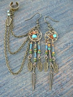 turquoise amber dreamcatcher chained ear cuff SET by gildedingypsy